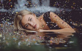Preview wallpaper Blonde girl, water, stars, shine