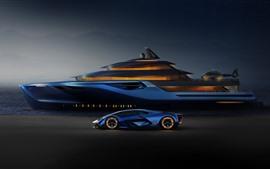Lamborghini azul, yate, helicóptero