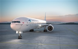 Preview wallpaper Boeing 777-300 airplane, airport