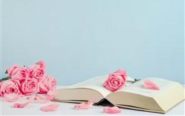 Libro y rosas rosadas, pétalos.