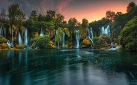 Bósnia herzegovina, Kravice, cachoeiras, lago, árvores, anoitecer