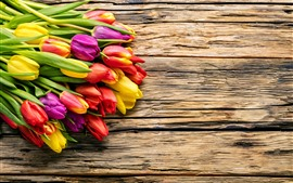 Preview wallpaper Bouquet, tulips, yellow, orange, purple, wood board