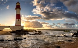 Brazil, Salvador, lighthouse, sea, clouds, sunset