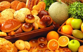 Preview wallpaper Bread and fruit, melon, orange, apple, food