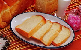 Bread slice, milk, breakfast