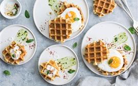 Petit déjeuner, gaufres, œufs