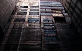Edificios, muro, ventanas.