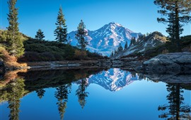 Preview wallpaper California, Mount Shasta, lake, mountains, trees, water reflection, USA
