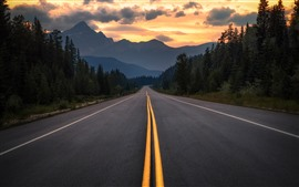 Preview wallpaper Canada, Albert, road, trees, mountains, clouds, dusk