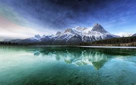 Canadá, lago, floresta, reflexão água, montanhas, paisagem natureza