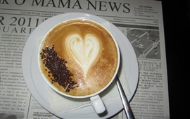 Preview wallpaper Cappuccino, coffee, love heart, newspaper