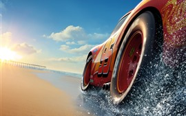 Preview wallpaper Cars 3, Lightning McQueen, beach, sea