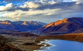 Озеро Каса, горы, дорога, деревня, Сычуань, Китай