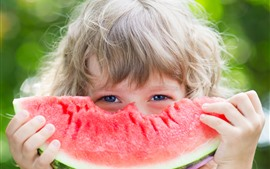 Preview wallpaper Child girl and one slice watermelon