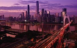 China, ciudad, noche, puente, rascacielos, luces, río