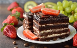 Chocolate cake, strawberry, grapes