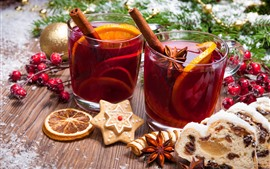 Preview wallpaper Christmas, cups, tea, cookies, balls, berries, decoration