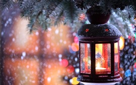 Preview wallpaper Christmas, lantern, snow, night