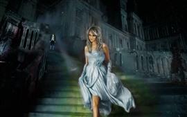 Золушка, улыбка девушка, юбка, лестницы, Художественная фотография
