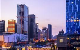 City at dusk, skyscrapers, lights, Ningbo, China