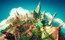 Ciudad, castillo, diseño 3D.