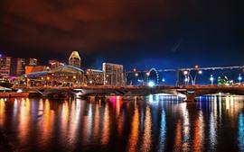 도시, 밤, 교량, 강, 건물 등 조명