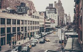 Город, улица, автомобили, здания