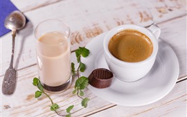 Preview wallpaper Coffee and milk, spoon, chocolate