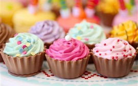 Preview wallpaper Colorful cupcakes, cream, food, dessert