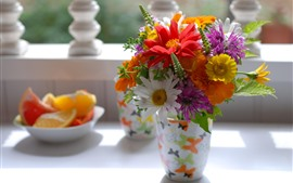 Preview wallpaper Colorful flowers, bouquet, vase, still life