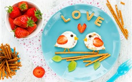 Creative breakfast, birds, sandwiches, strawberry, love