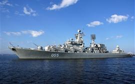 Cruiser, sea, blue sky, clouds