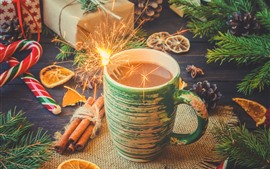 Preview wallpaper Cup, coffee, sparks, gift, candy, New Year