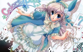 Preview wallpaper Cute anime girl, blue eyes, ears, skirt