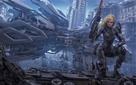 Preview wallpaper Cyborg, blonde girl, weapon, city, fantasy art