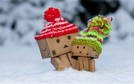 Preview wallpaper Danbo, hat, snow, winter