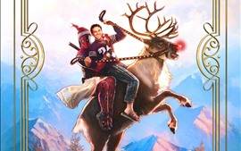 Preview wallpaper Deadpool 2, superhero, deer, Christmas