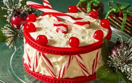 Delicious cake, cream, cherry, candy