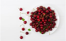 Preview wallpaper Delicious cherries, fruit, plate