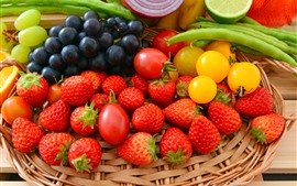 Delicious fruit, strawberry, grapes, tomatoes, vegetables