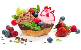 Preview wallpaper Delicious ice cream, strawberry, blueberry