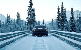 Dodge car front view, snow, winter, road