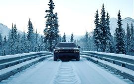 Dodge автомобиля вид спереди, снег, зима, дорога