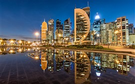 Doha, Qatar, Sheraton Park, skyscrapers, city, nights, lights, water reflection