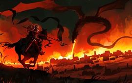 Dragão, guerreiro, fogo, retrato da arte da fantasia