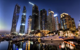 Dubai, UAE, city, skyscrapers, night, lights, boats, pier