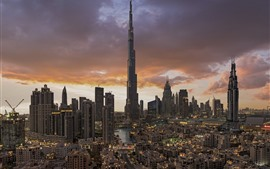 Preview wallpaper Dubai, UAE, cityscape, skyscrapers, city, clouds, dusk