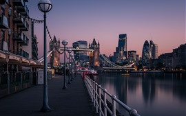Preview wallpaper England, London, Thames River, Tower Bridge, city, dawn, lights, street