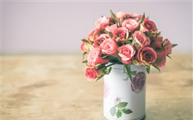 Preview wallpaper Fake flowers, pink rose, vase, hazy