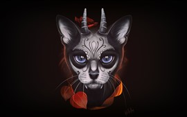 Preview wallpaper Fantasy animal, face, eyes, horns, black background